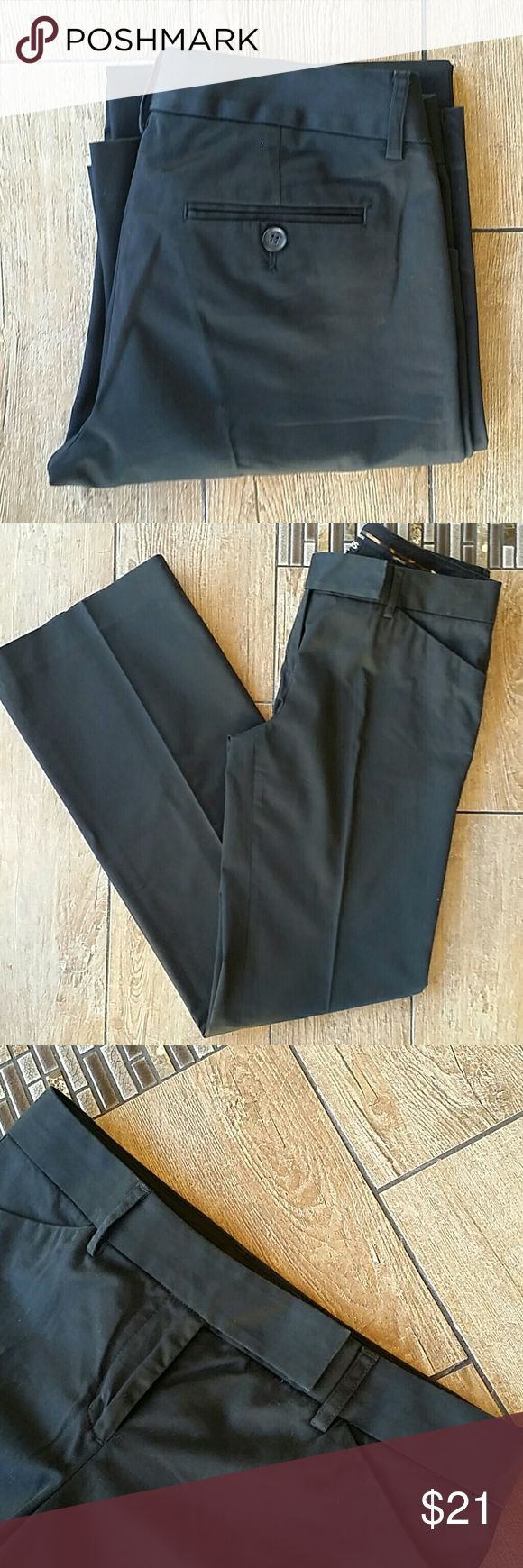 """EXPRESS EDITOR PANTS Black dress pants """"Editor"""" cut Double clasp zip close Belt loops Front slant pockets Rear functional pockets Almost has a sheen to pant 15""""across top of waist 32"""" inseam 9.5"""" leg opening at hem No rips, stains or snags  💥Express store not outlet Express Pants Boot Cut & Flare"""