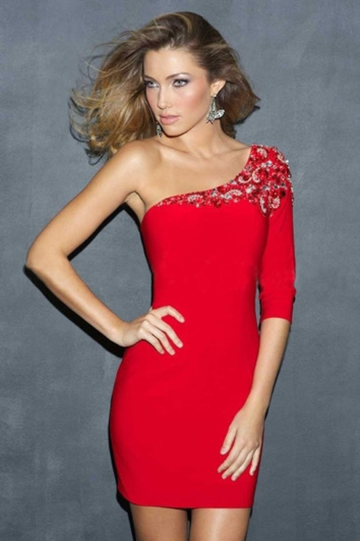 2014 New Arrival Homecoming Dresses Sheath One Sleeve Short Mini With Rhinestones Beads Red