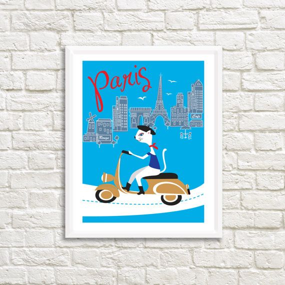 Paris City Cat on Moped 20x  25 High by LittleLotusFlowers on Etsy