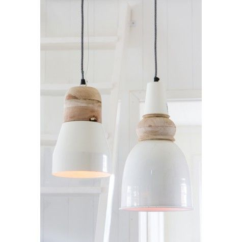 Hanglamp Issey wit met hout - hang er 5 op een rij.