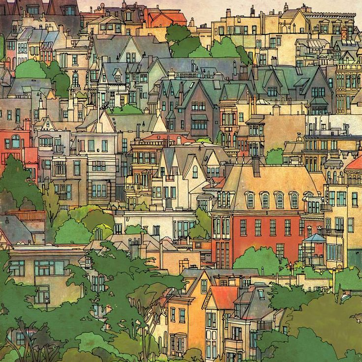 Highly Detailed Colouring Book for Adults Features Famous World Cities: San Francisco.