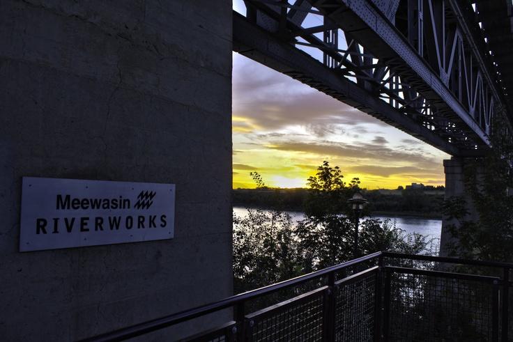 Meewasin Riverwalk view of the CPR pedestrian train bridge