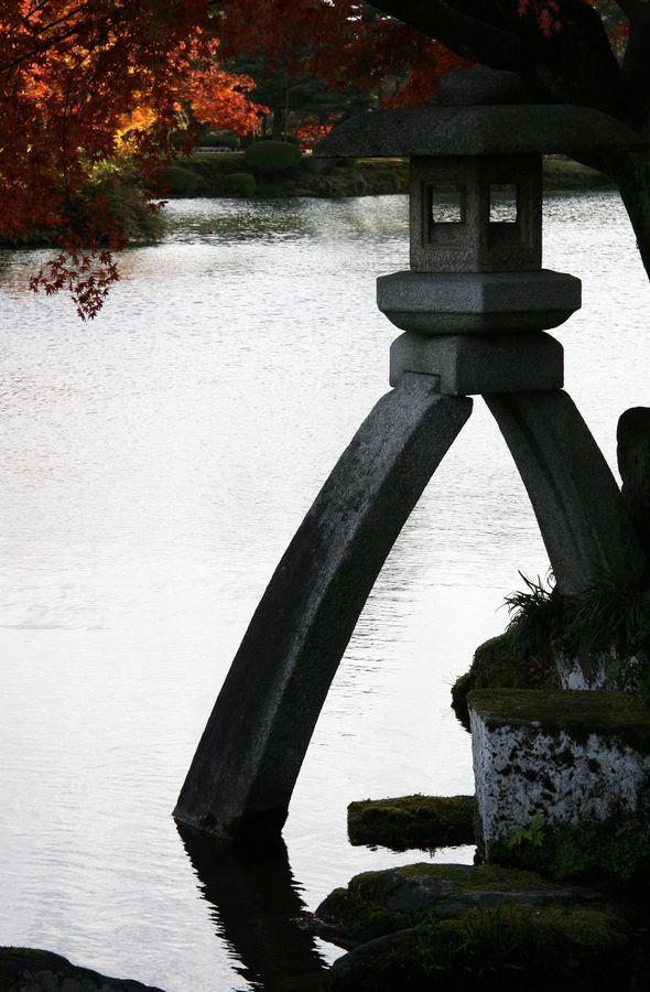 Kotojitoro Lantern - so tranquil and peaceful - in the beautiful Kenrokuen Gardens - in Kanazawa, Japan.
