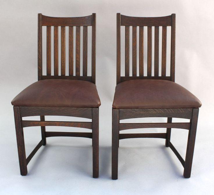 Pair 1910 Arts U0026 Crafts Mission Signed Chairs Antique Oak Craftsman Seat  (7951)