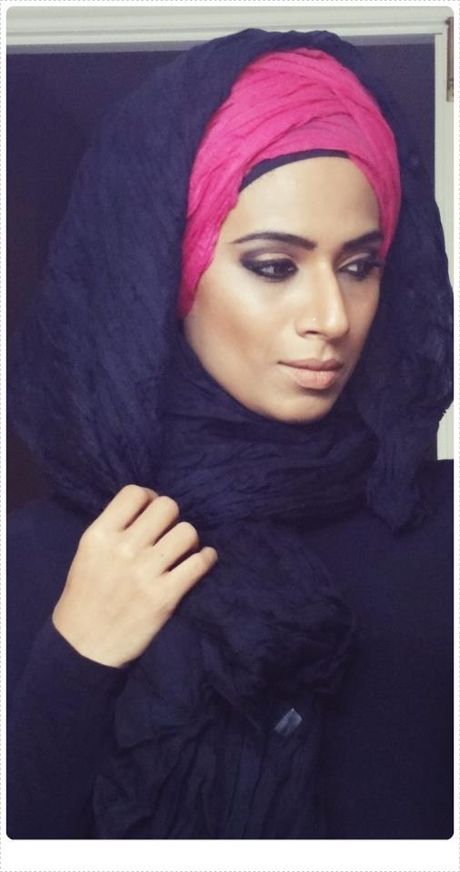 turban with traditional wrapped hijab over
