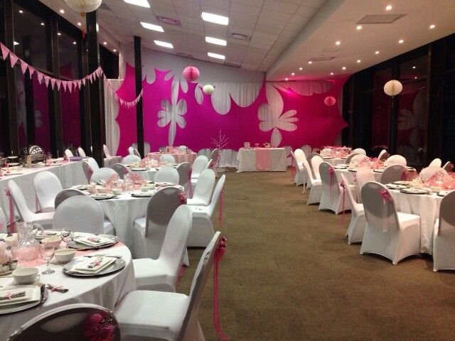 Pink girl baby shower venue setup renisha 39 s baby shower for Baby shower hall decoration