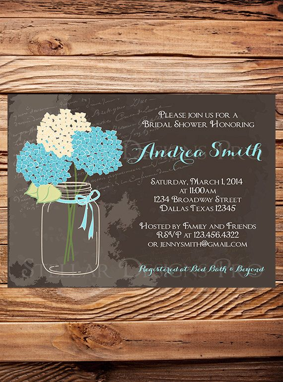Hydrangea Mason Jar Bridal Shower by StellarDesignsPro on Etsy