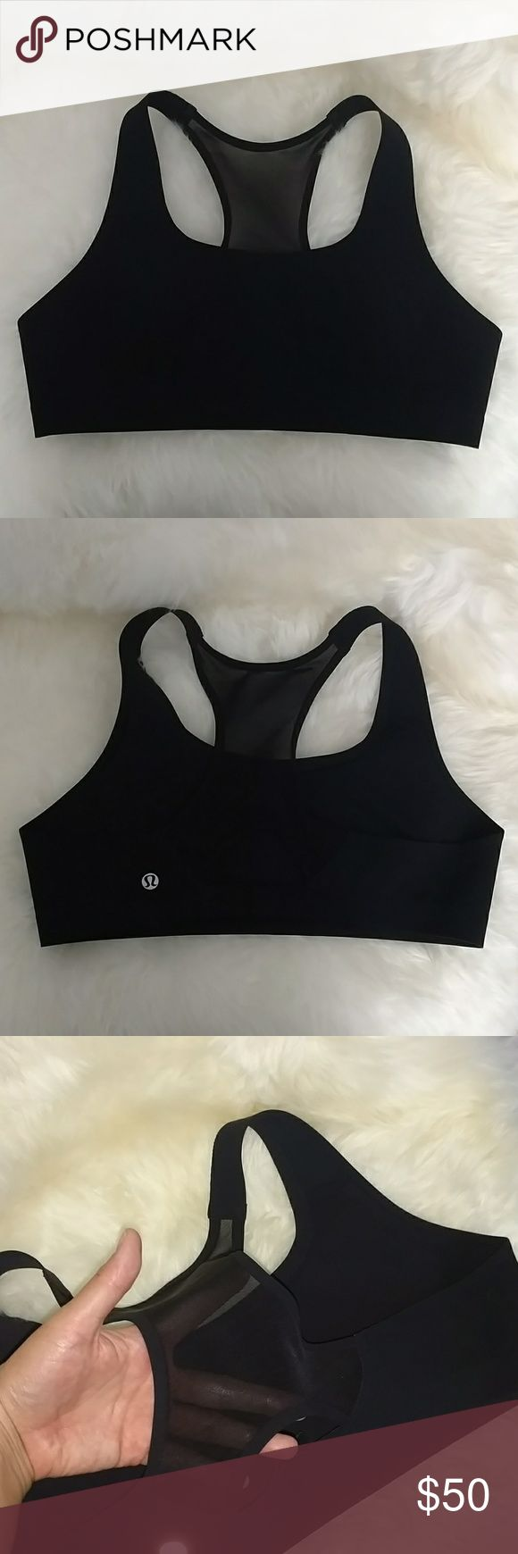 Lululemon Mesh Max Support Bra - 38C Black seamless Lululemon bra in 38C. This is the Bitty Bracer Bra. Only used twice and in excellent condition. Has a mesh back with adjustable hook and eye closure as well. Fits snugly and with maximum support for running. Bonded construction molds to your body shape as it warms up and is chaff-free. Pads included. lululemon athletica Intimates & Sleepwear Bras