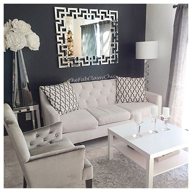 Dark Gray Accent wall with white decor. Light gray couch and printed throw pillow!
