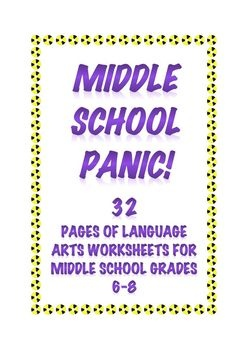 "Do you ever feel you need just 20-30 minutes of quiet in your middle school classroom? ""Middle School Panic"" gives you that quiet with work that keeps middle schoolers engaged, busy, and learning. $6.00"