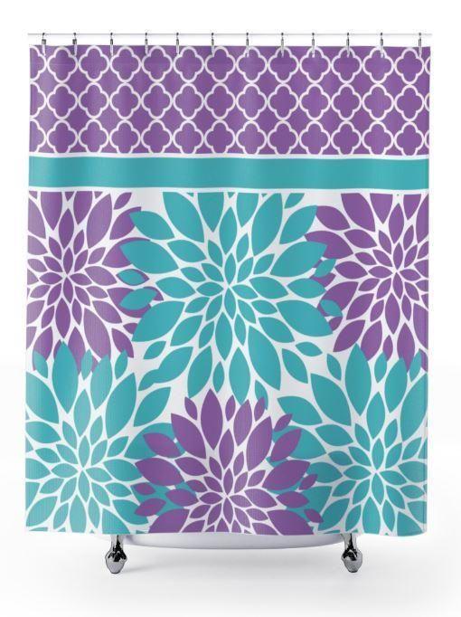 Purple Teal Shower Curtain Floral Quatrefoil Shower Curtain
