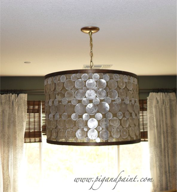 How To Make A Diy Designer Capiz Drum Shade Chandelier La Oly Studio Serena
