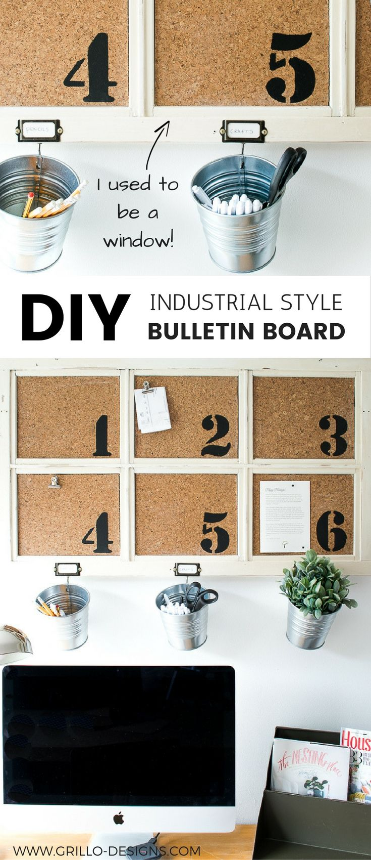 Industrial DIY Bulletin Board - Learn how to repurpose a window frame into a rustic looking bulletin board for your office space!
