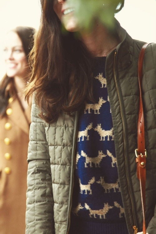 Kate Middleton, fox sweater & quilted jacket. Yep, I'd wear that.: Sweaters, Fashion, Style, Dream Closet, Outfit, Foxes, Fall Winter
