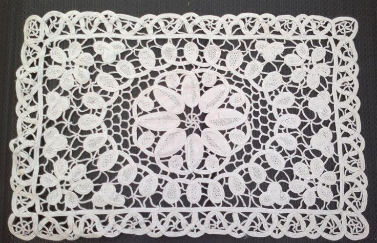 Ecru Battenburg Lace TrayCloth, Place Mat, SupperCloth. by KnitsanStitches on Etsy