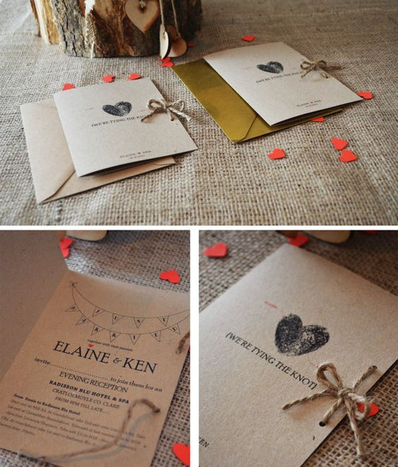 10 Kraft Wedding Evening Invitation / Rustic Wedding Evening Invitation - kraft paper and twine on Etsy, $28.72 AUD: