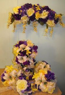 Purple And Yellow Silk Flower Wedding Set At Www Silkweddingflowersforless