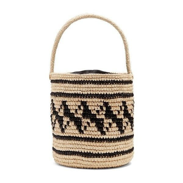 Sensi Studio Geometric-woven toquilla-straw basket bag ($250) ❤ liked on Polyvore featuring bags, handbags, black cream, geometric bag, woven bag, embellished purse, straw bags and braided purse