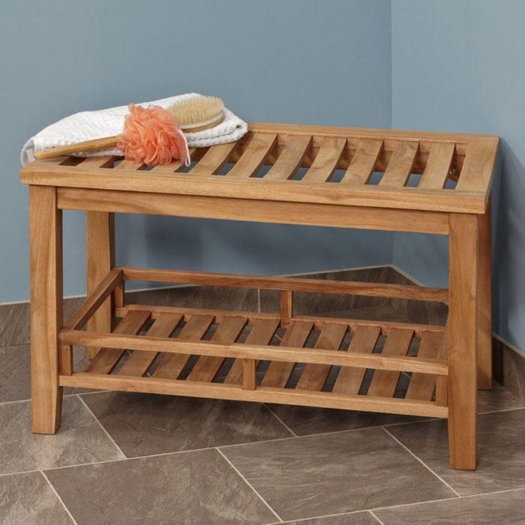 Large Teak Rectangular - ADA Compliant - Shower Stool