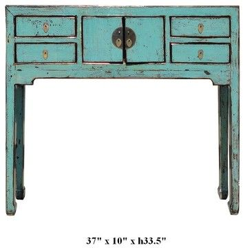 Rustic Style Turquoise Color Moon Face Narrow Console