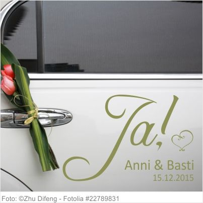 Autoaufkleber Hochzeit Ja mit Vornamen und Datum 03