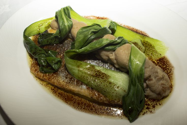 Pan-fried Sea Bass with five spiced mash potato and Asian dressing