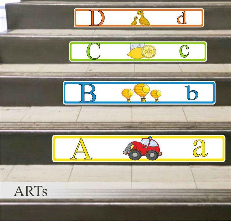 (3602f) #Nálepka na #schody - Učíme sa abecedu #abeceda #artsablony