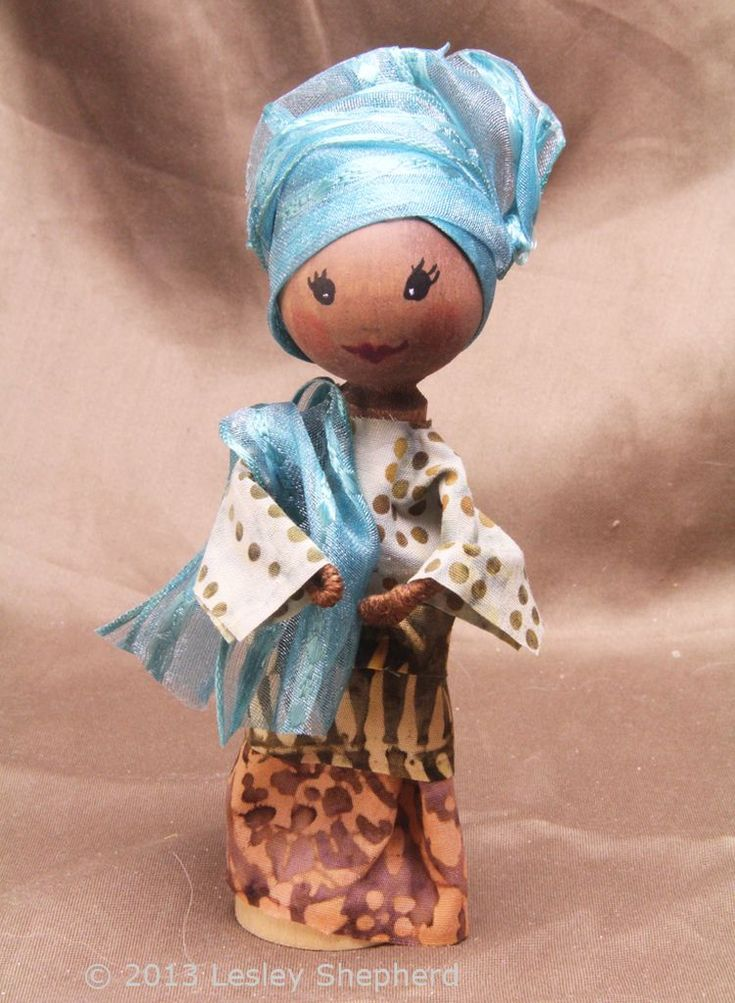 Make a Clothespin Doll in Nigerian Dress