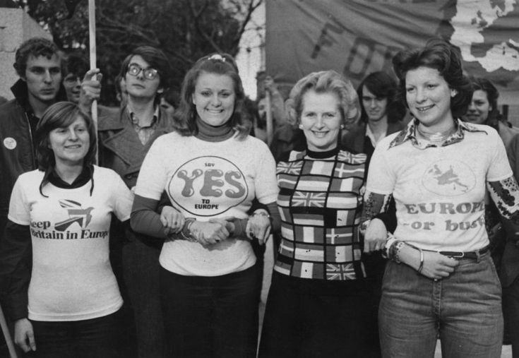 Margaret Thatcher at a pro-European rally before the EEC referendum, London, 1975.