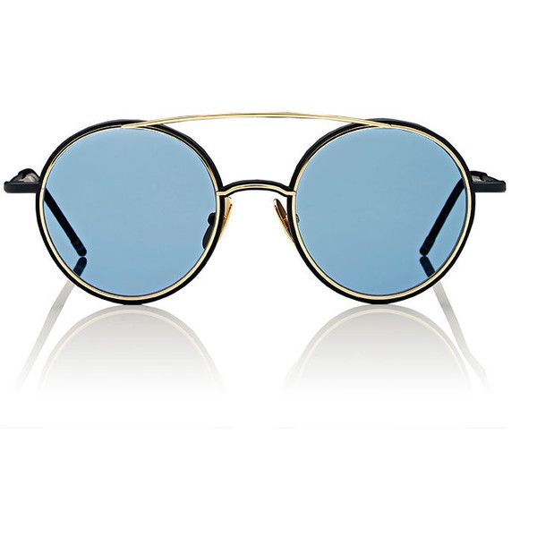 Thom Browne Men's TB 108 Sunglasses (€600) ❤ liked on Polyvore featuring men's fashion, men's accessories, men's eyewear, men's sunglasses, navy, mens eyewear and mens sunglasses