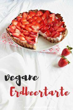 Fruchtige vegane Erdbeertarte, glutenfrei und zuckerfrei! Schnell gemacht und einfach.