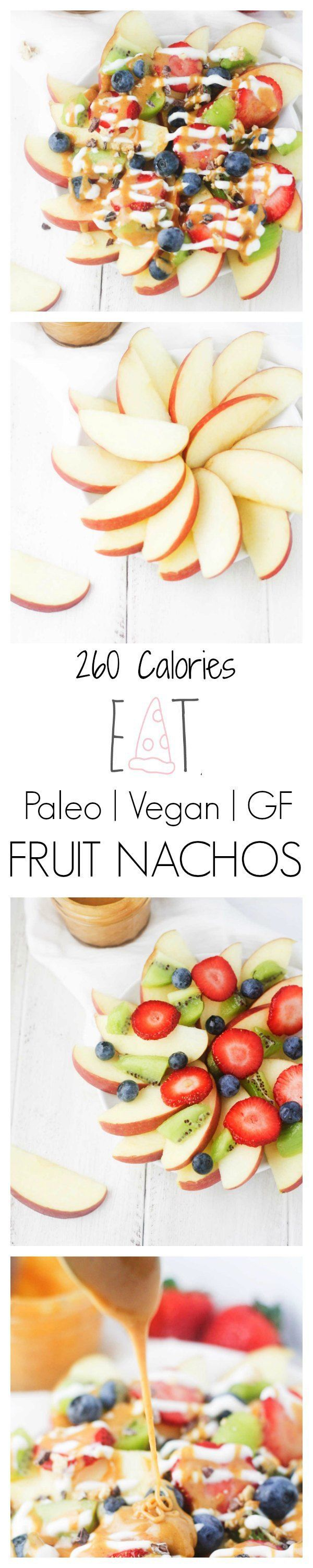 Loaded Fruit Nachos - The perfect game day/movie night/anytime snack! Apple nacho slices, topped with a variety of fresh fruits, cacao nibs, granola and drizzled with Greek yogurt and a low calorie peanut butter maple drizzle. | It's Cheat Day Everyday
