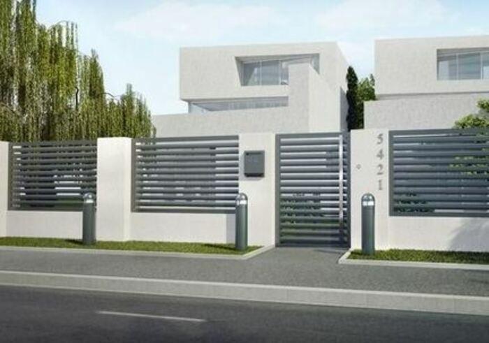 Modern Fence Ideas Metal In 2020 Modern Fence Design Fence Wall