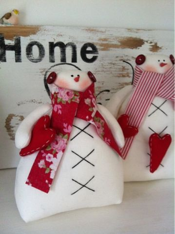 Adorable snowman with red heart and scarf!