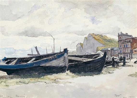 Artwork by Alexandre Nikolaïevitch Benois, MOORED BOATS, Made of watercolour over pencil