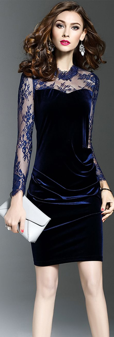 Navy Blue Lace Gauze Sheath Dress
