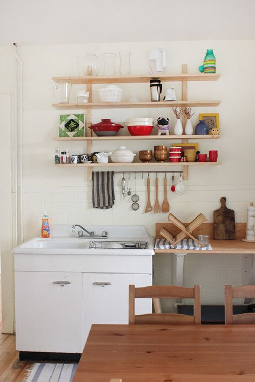 simple shelves in the kitchen