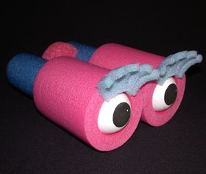 Clown props diy comedy binoculars out of swimming floats , noodles or old foam tubes