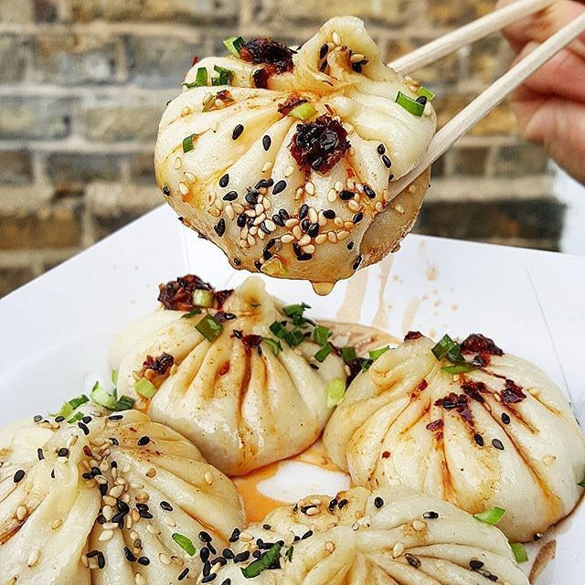 Pan-fried soup dumplings, Dumpling Shack. £7.50 for plate of 4, Broadway Market, London Fields