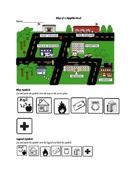 Students cut and paste map symbols onto a map and a legend in order to replicate a map of a neighborhood. This can be used as an assessment or as a practice sheet.