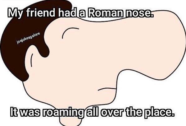 "12 Likes, 2 Comments - Joe Jokes (@joejokesgalore) on Instagram: ""👃 #roman #jokes #comedy #nose #romannose #rome #pun #baddadjokes #roam #bignose #joke #dadjoke…"""
