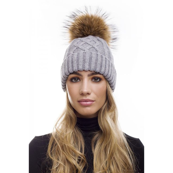 Grey Angora Wool Fur Bobble Cable Knit Hat