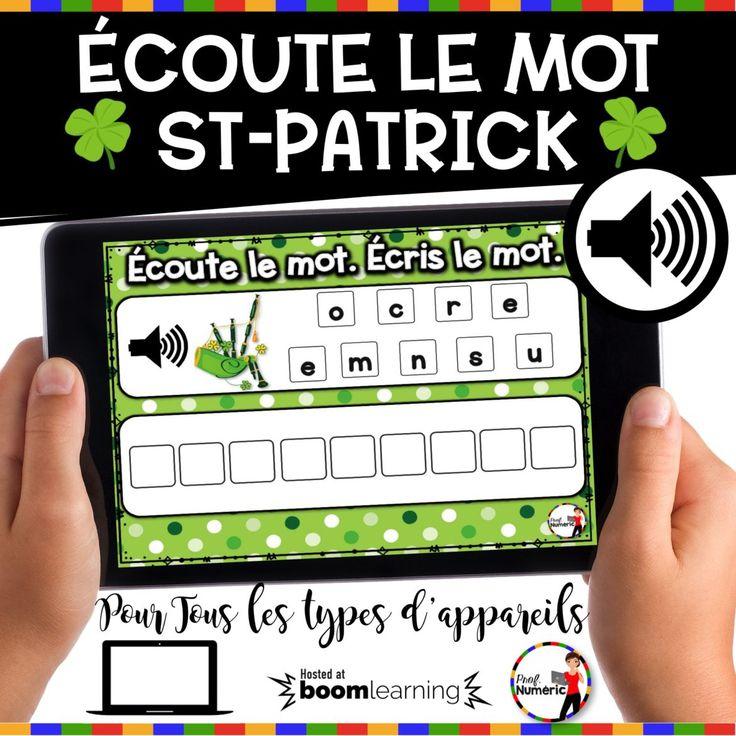 Saint-Patrick : Boom CARDS pour la St-Patrick. Ensemble complet de jeux interactifs pour tous types d'appareils mobiles. Jeu TNI AUDIO. Écoute le mot.