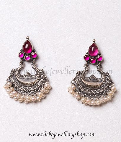 925 sterling silver pearl earrings for women #SilverOxidisedTempleJewellery #TempleJeweleryAntique