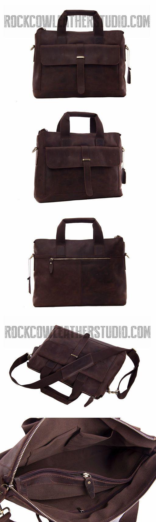 Antique Style Genuine Leather Mens Briefcase Messenger Bag Laptop Shoulder Bag 9075
