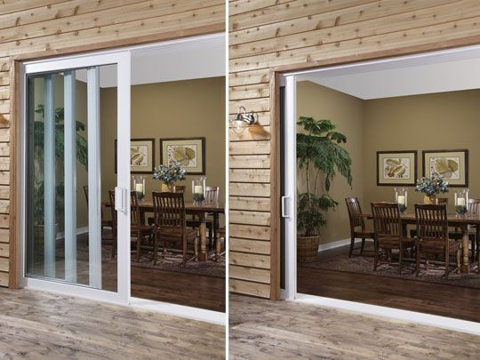 Sliding glass doors that slide into the wall google for Full glass patio door