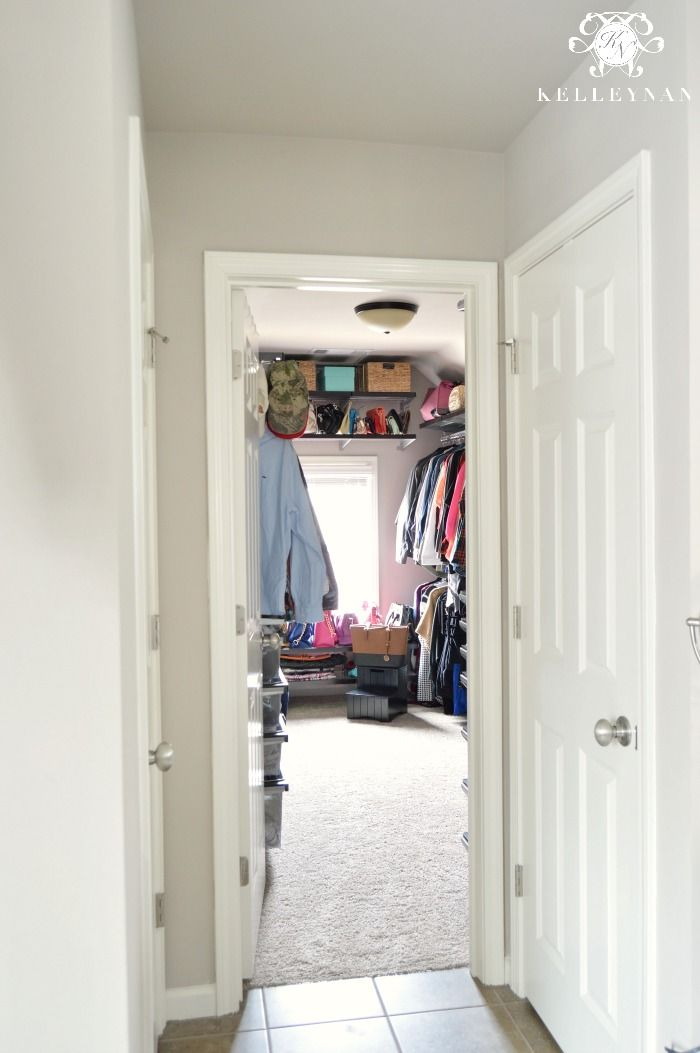 Closet Organization with Elfa System from the container store- organized clothes for his and hers, shoe racks, tie rack, and a jewelry station. Uniform slim hangers