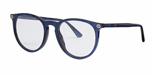5b0bf44b05 Gucci GG 0027O 005 Blue Plastic Round Eyeglasses 50mm