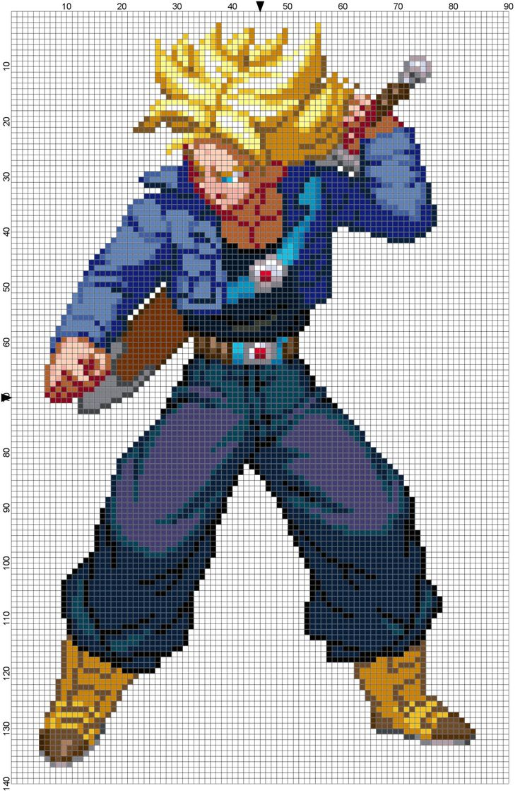 Super Saiyan (Future) Trunks from Dragon Ball Z: Extreme Butouden.Download the pattern here.