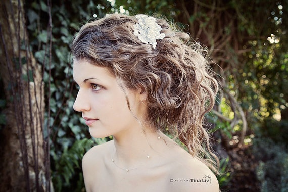 My Sweet Leonora bridal hair clip  Shimmering by SoBridelicious, $60.00